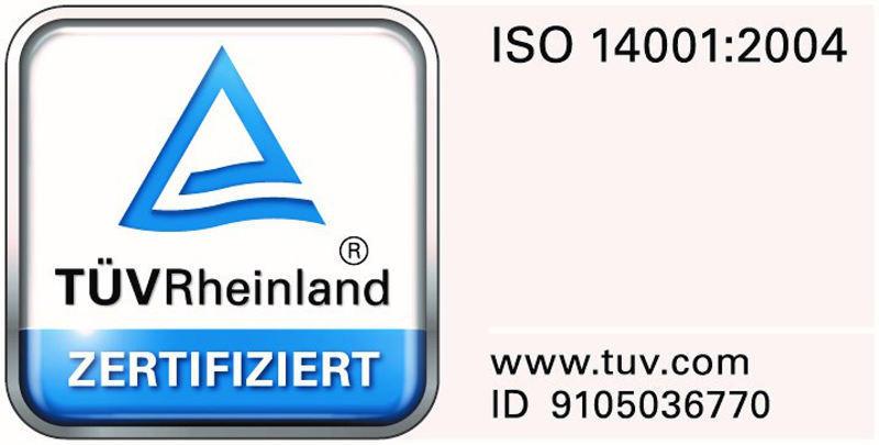 ISO 14001 TÜV Rheinland zertifiziert