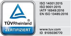 ISO 14001, ISO 9001, ISO 13485 und IATF 16949 TÜV Rheinland zertifiziert